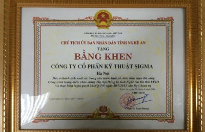 Sigma was awarded certificate of merit at Nghe An Television and Broadcasting project