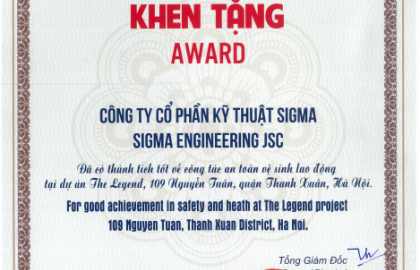 Sigma was honored to receive the certificate of Occupational Health and Safety at The Legend project