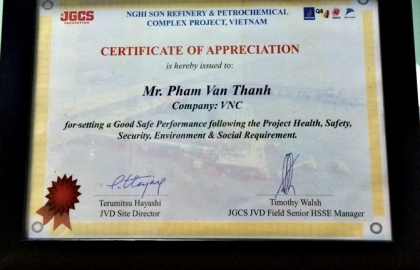 Safety award at Nghi Son Refinery and Petrochemical Complex